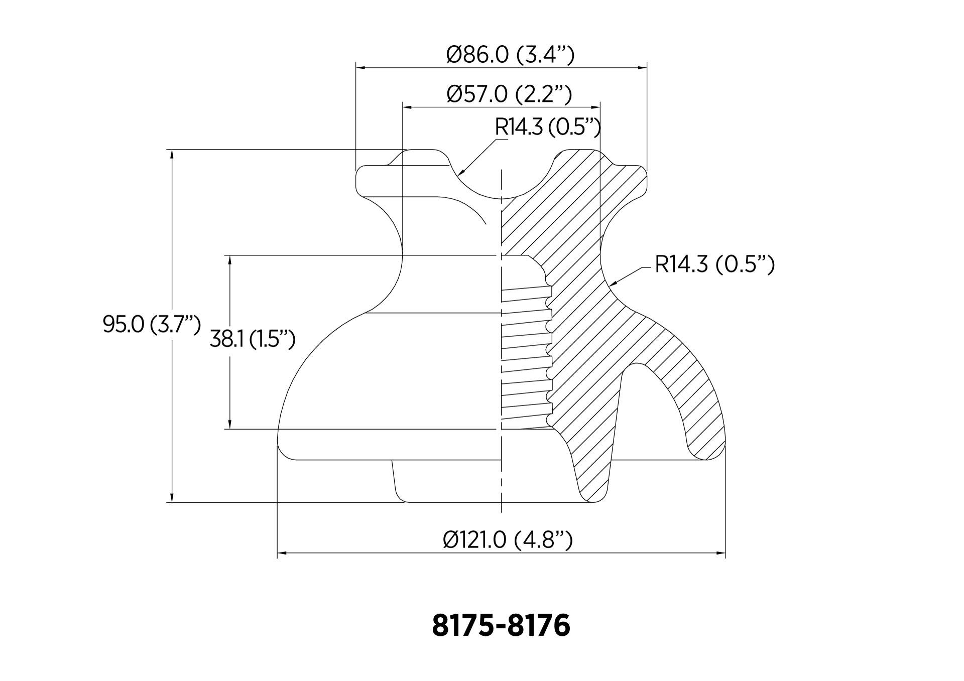 PIN ANSI 55-3 11.1kN 11.5KV CON RF