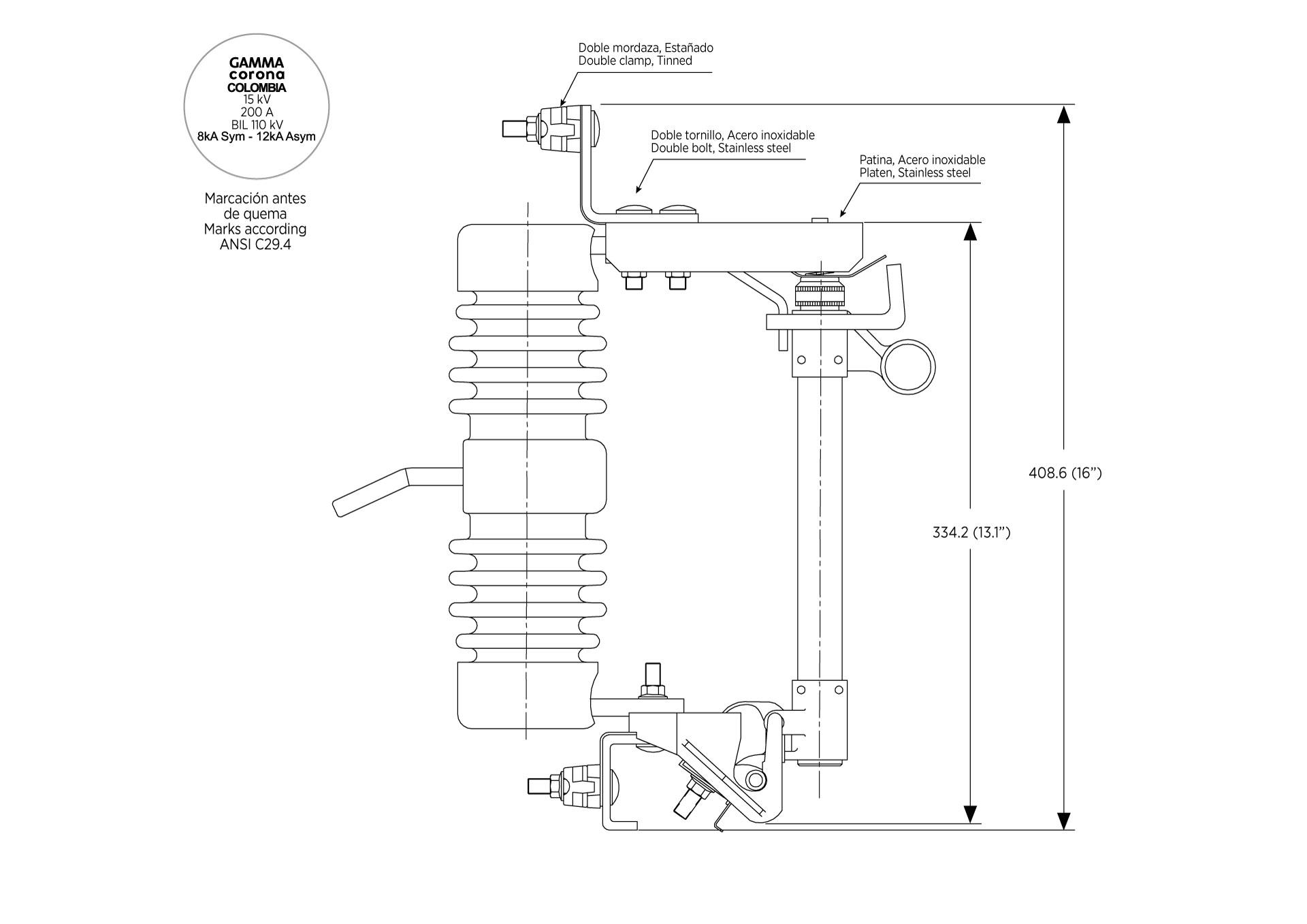 CORTACIRCUITOS ANSI C37.41-42 15kV 200A 110KV BIL