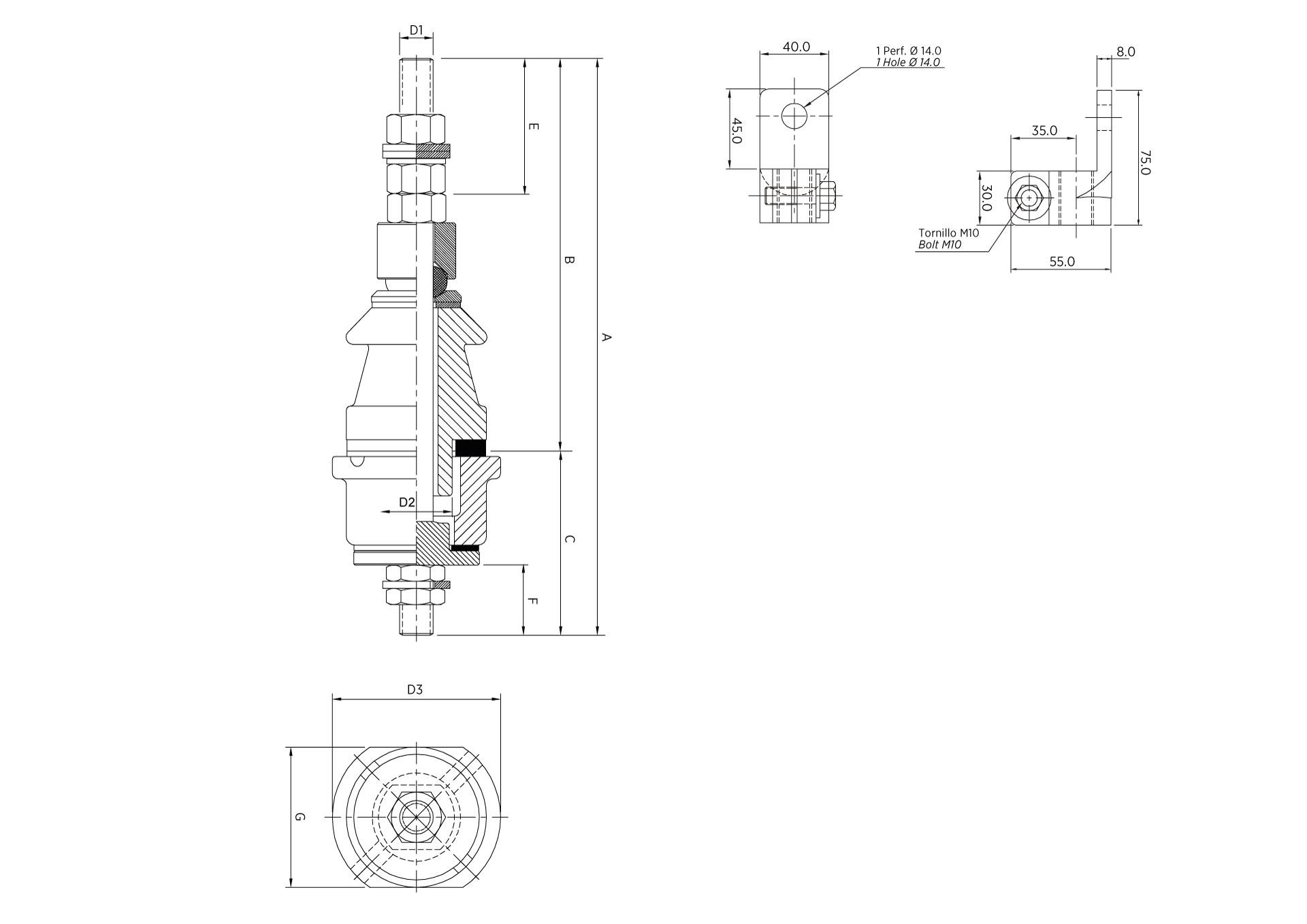 LV BUSHING 42530 DT 1/250 1.0KV 250A